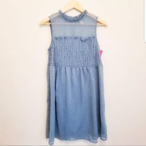 NWT Flowy Chiffon Smock Dress Aqua Blue S